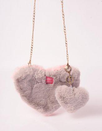 Сумка на ланцюжку хутряна у вигляді серця   245794-11-XX - A-SHOP