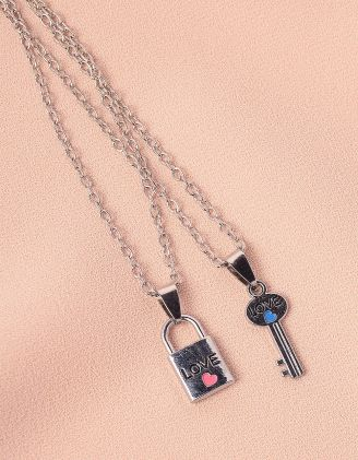 Підвіска на шию подвійна з кулонами у вигляді ключа та замка   249136-05-XX - A-SHOP