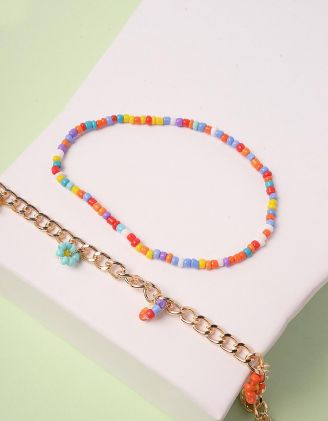 Браслет на ногу парний із кольорових намистин з квітами | 244529-21-XX - A-SHOP