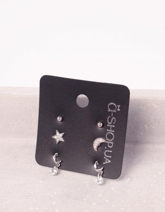 Сережки пусети у наборі з зіркою та місяцем | 242857-06-XX - A-SHOP