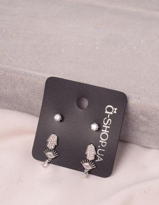 Сережки пусети у наборі із зображенням ока та хамси | 244999-06-XX - A-SHOP
