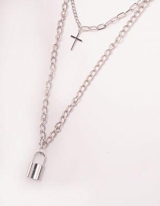 Підвіска на шию із ланцюжків з кулонами у вигляді хреста та замка | 247490-05-XX - A-SHOP