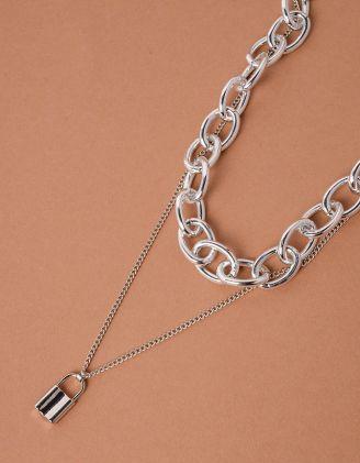 Підвіска чокер із ланцюга з кулоном у вигляді замка | 238070-05-XX - A-SHOP