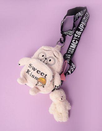 Рюкзак хутряний маленький з брелоком у вигляді ведмедика | 247296-40-XX - A-SHOP