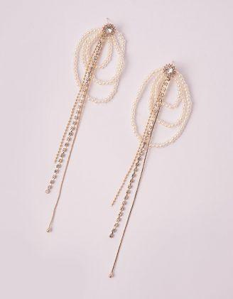 Сережки довгі з перлинами та стразами | 249232-08-XX - A-SHOP