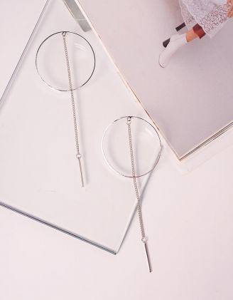 Сережки довгі у вигляді кілець з ланцюжками | 240074-05-XX - A-SHOP