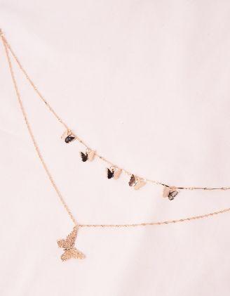Підвіска на шию багатошарова з метеликами | 245890-04-XX - A-SHOP