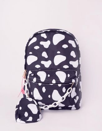 Рюкзак у комплекті із сумочкою на ланцюгу з принтом корови | 243056-02-XX - A-SHOP