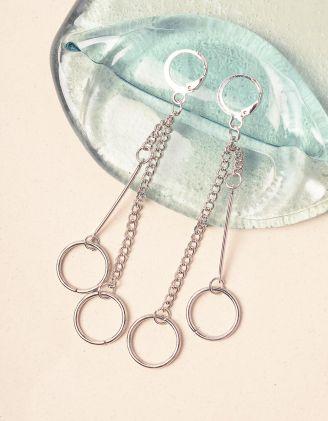 Сережки довгі із ланцюжків з кільцями | 240726-05-XX - A-SHOP