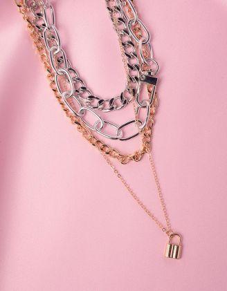Підвіска на шию із ланцюгів з кулоном у вигляді замка | 246058-05-XX - A-SHOP