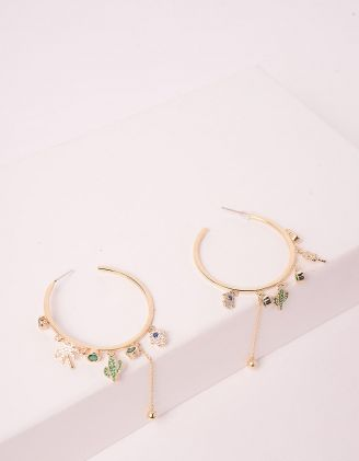 Сережки кільця з підвісками у вигляді кактуса та хамси | 246155-57-XX - A-SHOP
