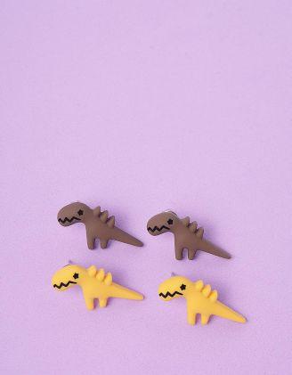 Сережки пусети у наборі у вигляді динозавриків | 246318-12-XX - A-SHOP