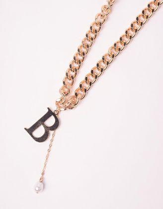 Підвіска ланцюг на шию з кулоном у вигляді літери | 245935-08-XX - A-SHOP