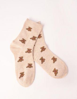 Шкарпетки з принтом ведмедиків | 249589-22-XX - A-SHOP