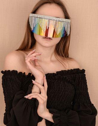 Окуляри маска дзеркальні з ланцюжками із страз | 239832-21-XX - A-SHOP