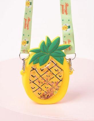 Сумка на широкому ремінці у вигляді фрукта з блискітками | 243215-19-XX - A-SHOP