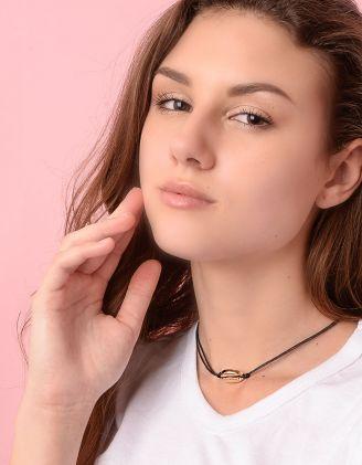 Чокер підвіска на шию подвійний плетений з мушлею   236908-04-XX