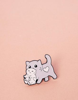 Брошка у вигляді кицьки з кошеням | 241679-11-XX - A-SHOP