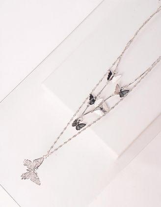 Підвіска на шию багатошарова з метеликами | 245890-05-XX - A-SHOP