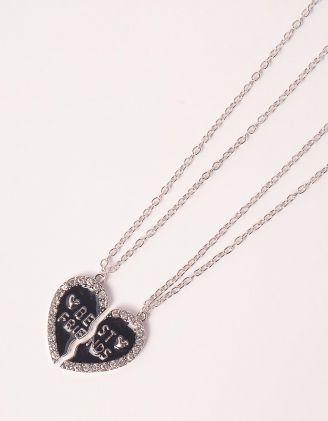 Підвіска на шию best friends з кулоном у вигляді серця | 248057-07-XX - A-SHOP