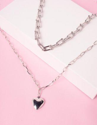 Підвіска на шию подвійна із ланцюжків з медальоном у вигляді серця | 245876-05-XX - A-SHOP