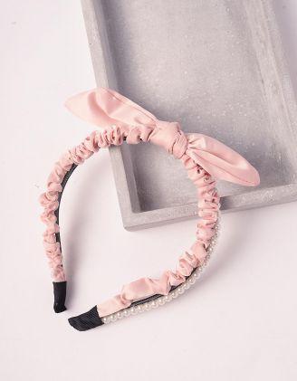 Обідок для волосся з бантом та перлинами | 243775-14-XX - A-SHOP