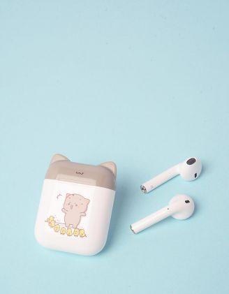 Навушники бездротові з принтом котика на чохлі | 248705-11-XX - A-SHOP