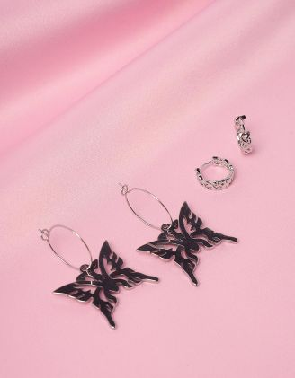 Сережки у наборі з підвісками у вигляді метеликів | 246053-05-XX - A-SHOP