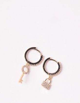 Сережки з ключем та замком | 246157-08-XX - A-SHOP