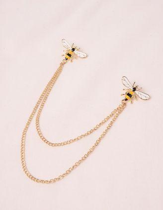 Брошка з ланцюжками у вигляді бджілок | 249299-04-XX - A-SHOP