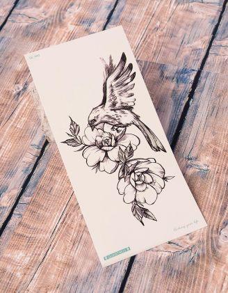 Тату тимчасове з птахом та квітами | 238222-02-XX - A-SHOP