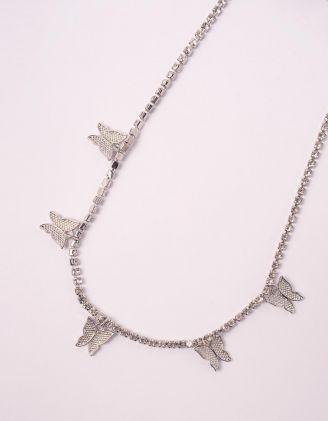 Підвіска на шию зі стразами та метеликами | 247254-06-XX - A-SHOP
