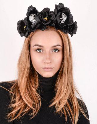 Обідок для волосся з трояндами та черепами | 243303-02-XX - A-SHOP