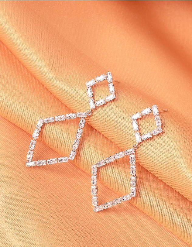 Сережки довгі  фігурні зі стразами | 240155-06-XX - A-SHOP