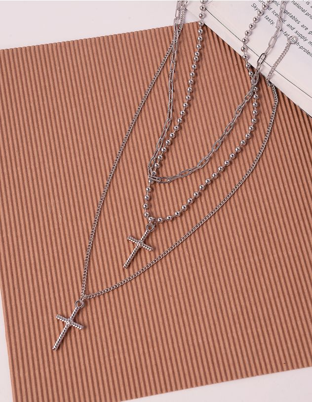 Підвіска на шию багатошарова з хрестами | 240404-05-XX - A-SHOP