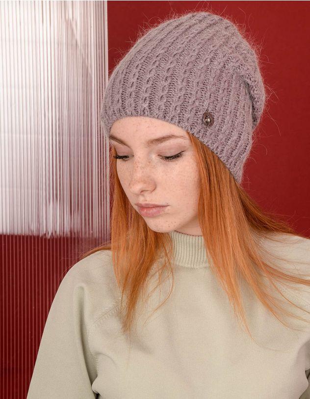 Шапка ковпак з візерунком плетеної коси | 238315-35-XX - A-SHOP