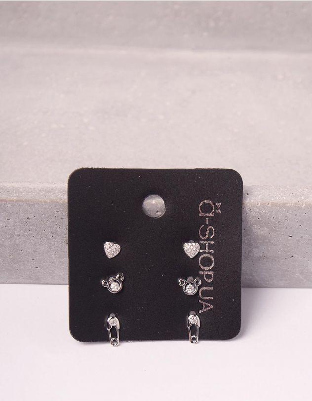 Сережки пусети у наборі у вигляді ведмедика булавки та серця | 246126-06-XX - A-SHOP