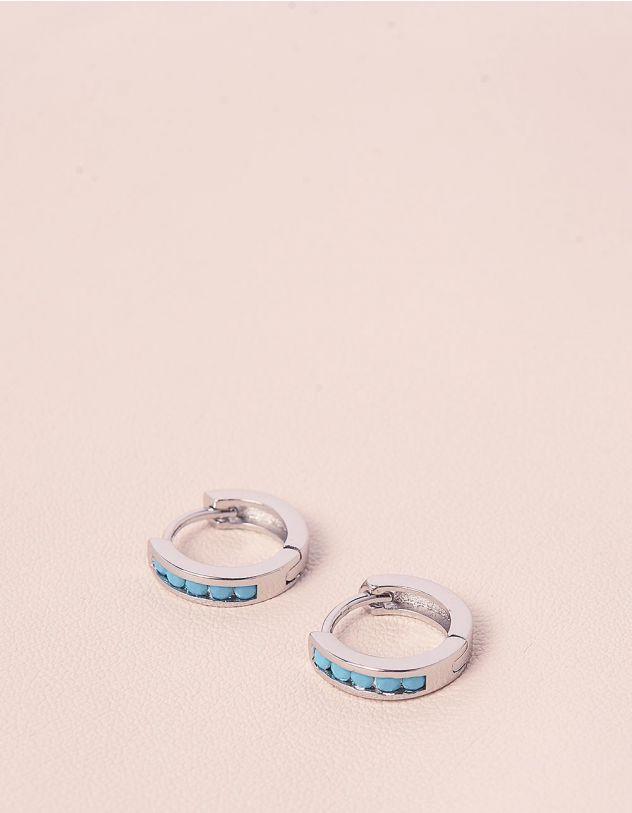Сережки маленькі кільця з камінцями | 236121-64-XX - A-SHOP