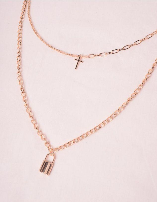 Підвіска на шию із ланцюжків з кулонами у вигляді хреста та замка | 247490-04-XX - A-SHOP
