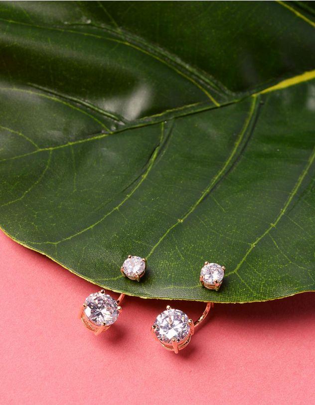 Сережки двосторонні з кристалами | 229022-08-XX - A-SHOP