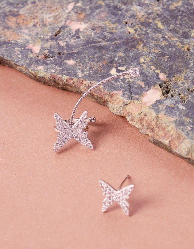 Сережки з метеликами у стразах | 243041-06-XX - A-SHOP