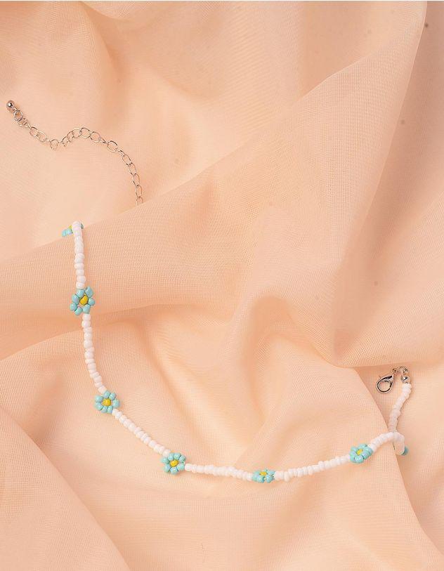 Чокер на шию з квітами із намистин | 243008-18-XX - A-SHOP