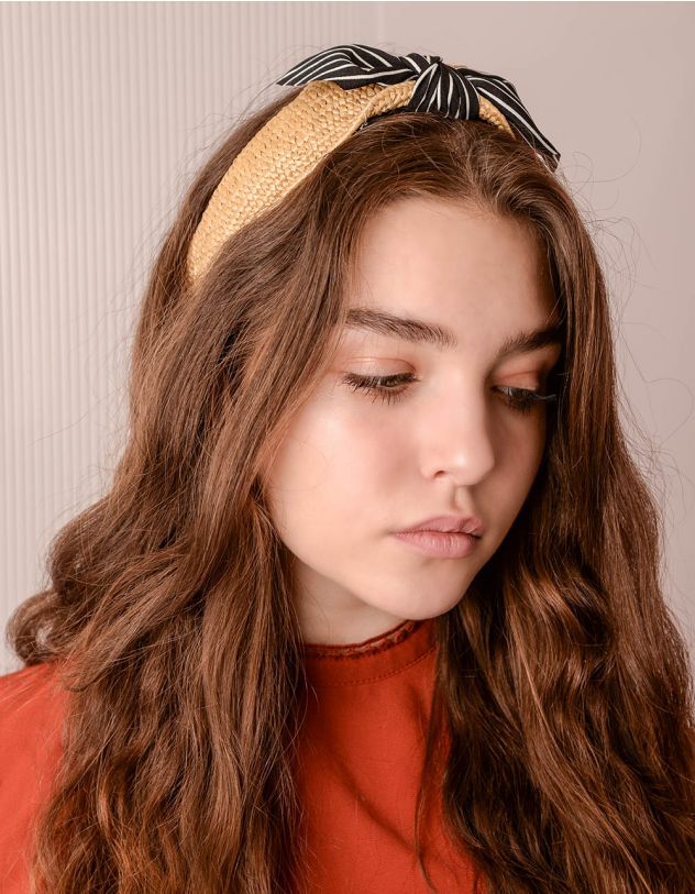 Обідок для волосся з бантом у смужку | 241339-02-XX - A-SHOP