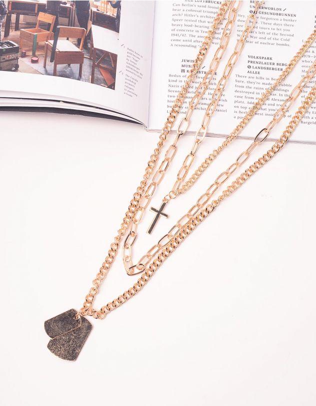 Підвіска довга із ланцюжків з хрестом   239479-04-XX