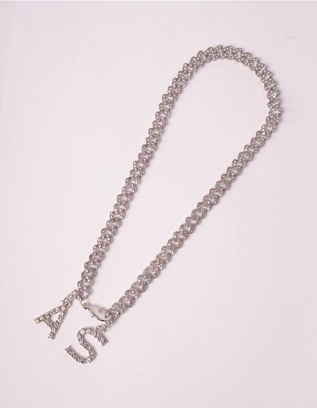 Підвіска ланцюг на шию з кулонами у вигляді літер зі стразами | 245952-06-XX - A-SHOP