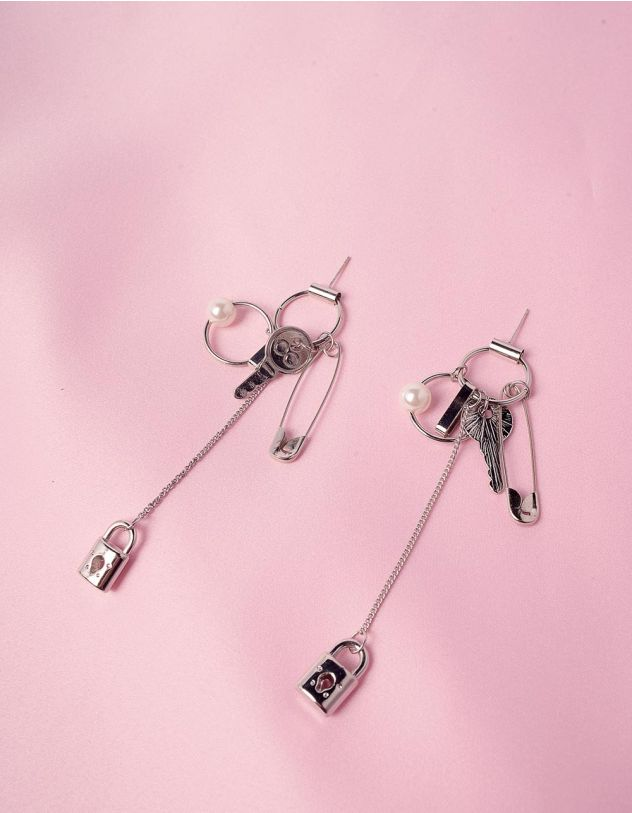 Сережки подовжені з булавкою та замком із ключем   246301-06-XX - A-SHOP