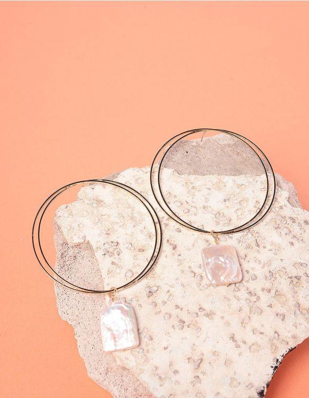 Сережки кільця з перлинами | 237727-08-XX - A-SHOP