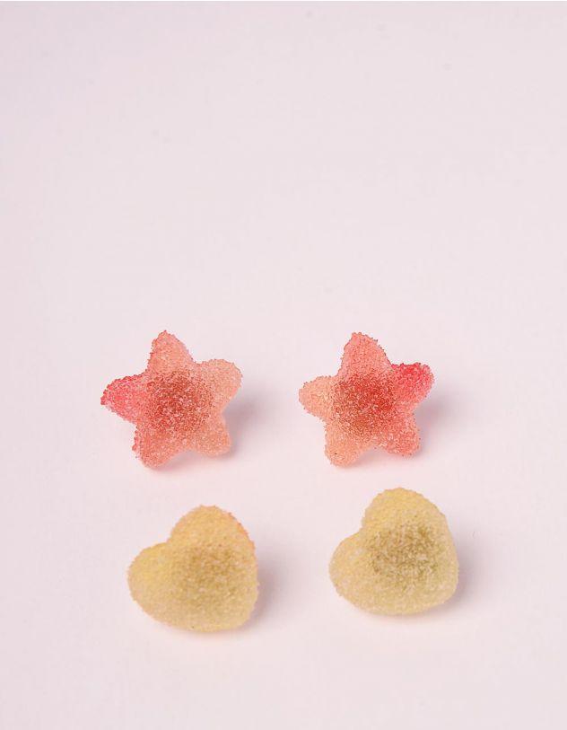 Сережки пусети у наборі у вигляді зірок та сердець | 246211-36-XX - A-SHOP
