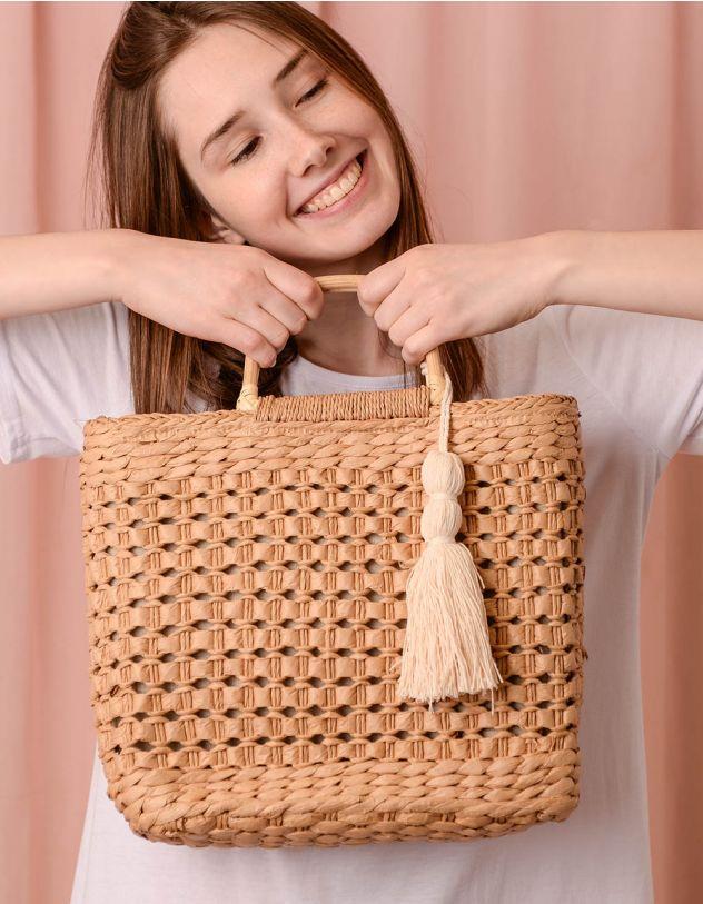 Сумка на плече плетена з китицею | 240635-22-XX - A-SHOP