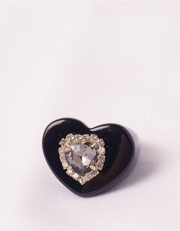 Кільце широке з камінням у вигляді серця   248701-02-37 - A-SHOP